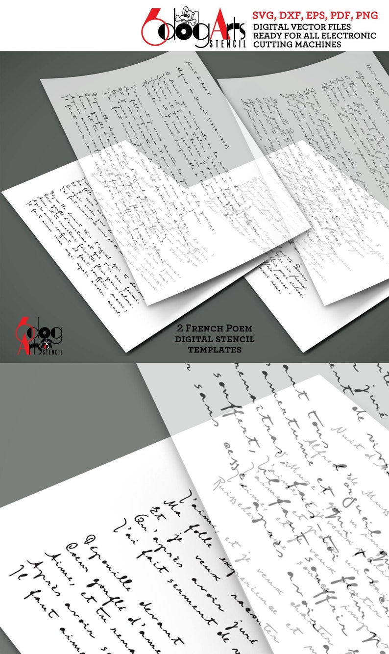 2 Vintage French Poem Script Digital Stencil Templates Shabby Chic SVG DXF files diy Mylar Laser Cutting Silhouette Cricut Download JB-1368