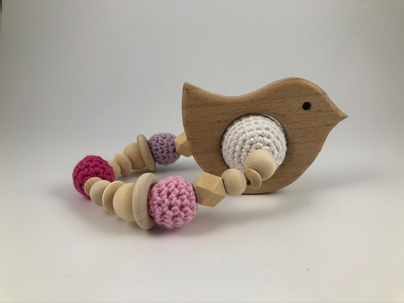DIY crochet set gripping ringrattle with wish wood figure and crochet instructions
