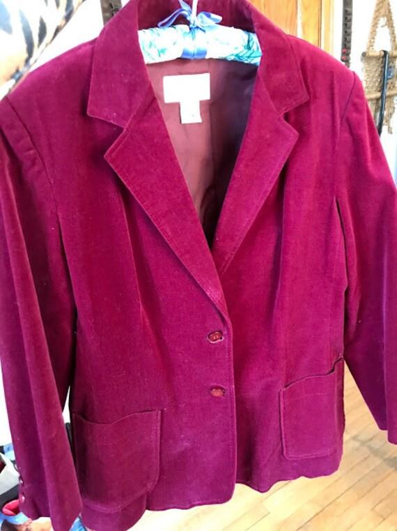 Vintage 70's - Ruby Red Burgundy Velvet Blazer - image 6
