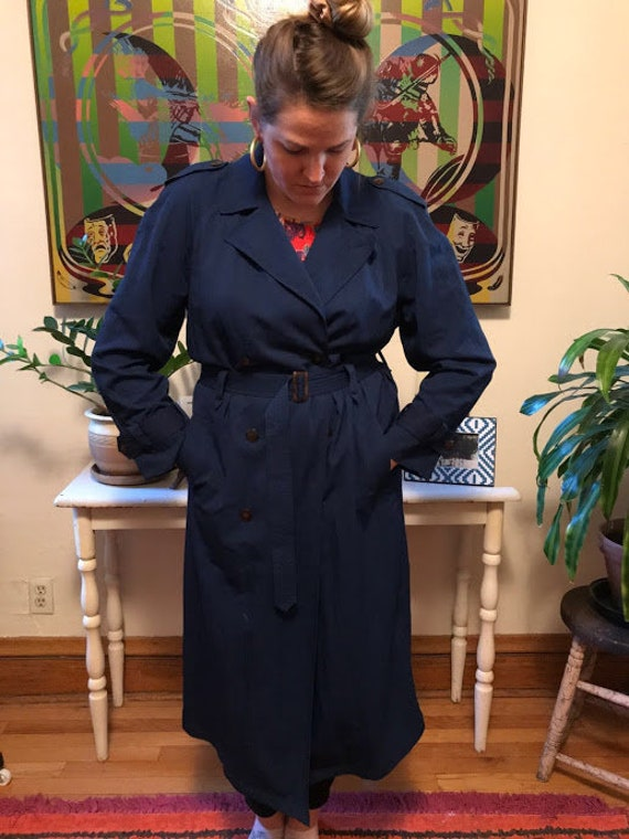 Vintage 90's - Liz Claiborne Navy Trench Coat