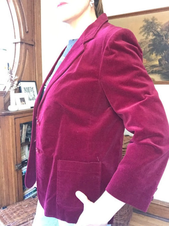 Vintage 70's - Ruby Red Burgundy Velvet Blazer - image 2