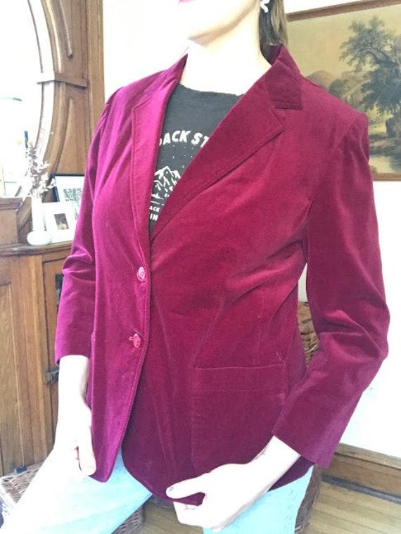 Vintage 70's - Ruby Red Burgundy Velvet Blazer - image 3