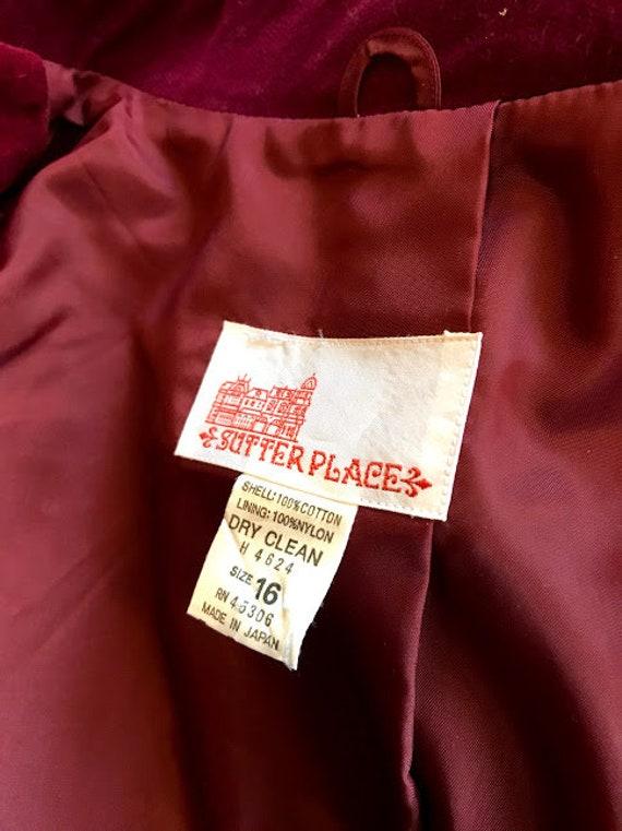 Vintage 70's - Ruby Red Burgundy Velvet Blazer - image 7