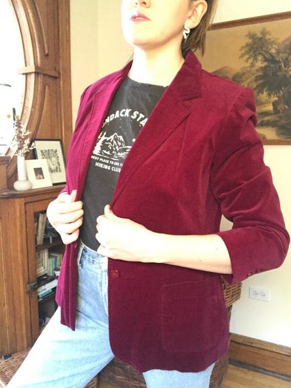 Vintage 70's - Ruby Red Burgundy Velvet Blazer - image 1
