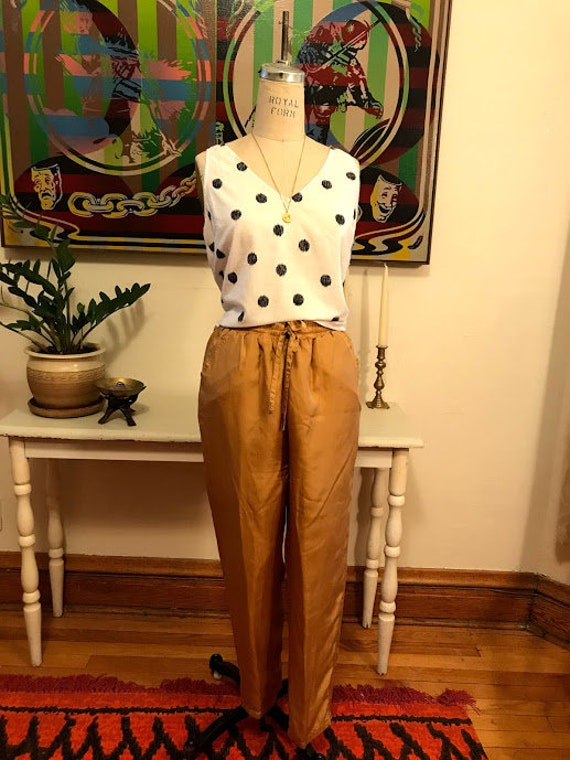 Vintage 90's - Mustard Yellow Relaxed Elastic Silk