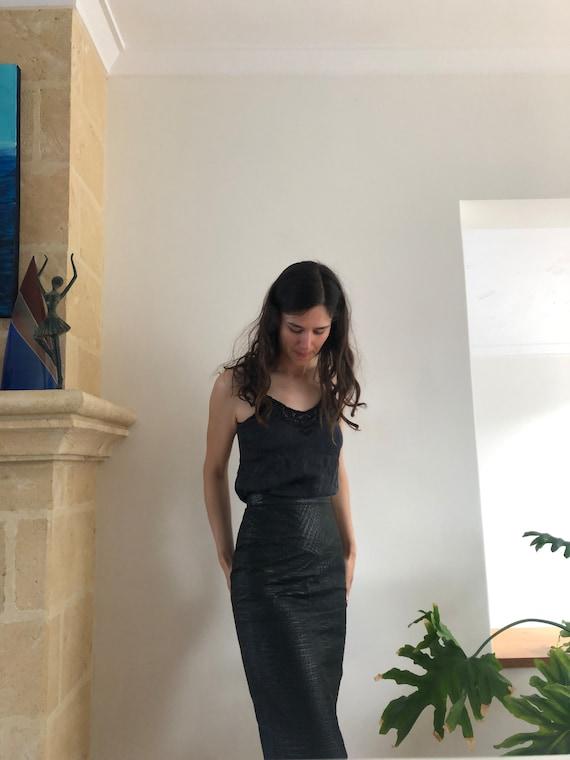 FRANTIK black leather pencil skirt