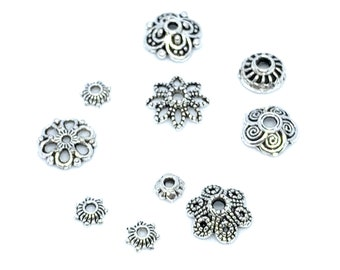 100Pcs Tibetan Silver Plated Wave Carved Spacer Bead Caps Jewelry Makings 8x3mm