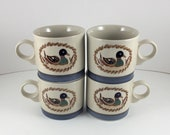 American Decoy Set of 4 Mugs by Epoch a Noritake Division Mallard Duck Mugs