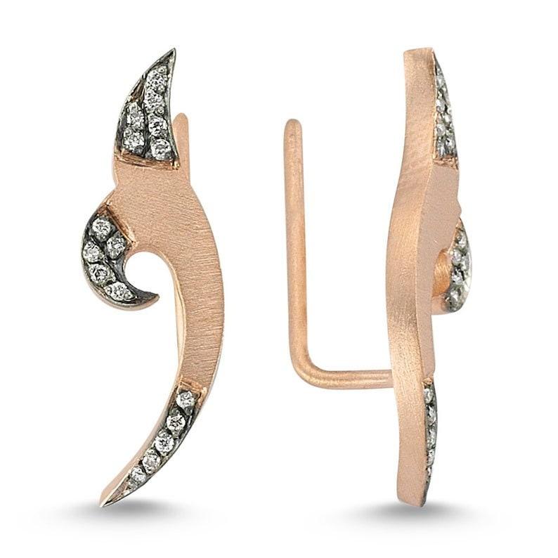 Diamond Comet Earrings Diamond Cluster Earrings 14K Gold Celestial Inspired Earrings Perfect Gift for Her Multi Stone Cuff Earrings