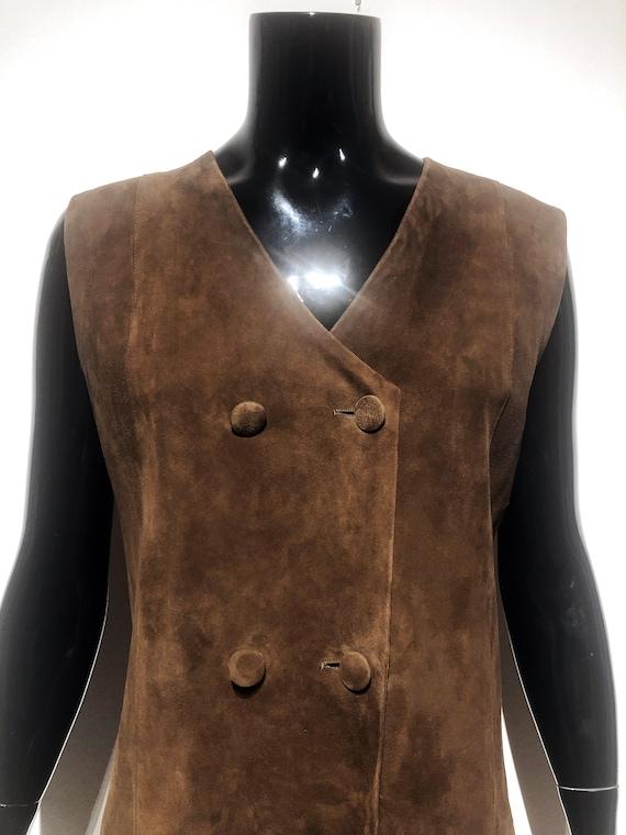 Original Vintage brown suede leather pinafore dres