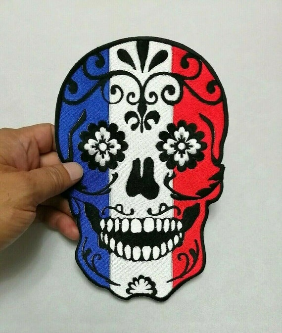Skull Sugar Rose Flower Head Dead Danger Scary Embroidered Iron On Sew Patches