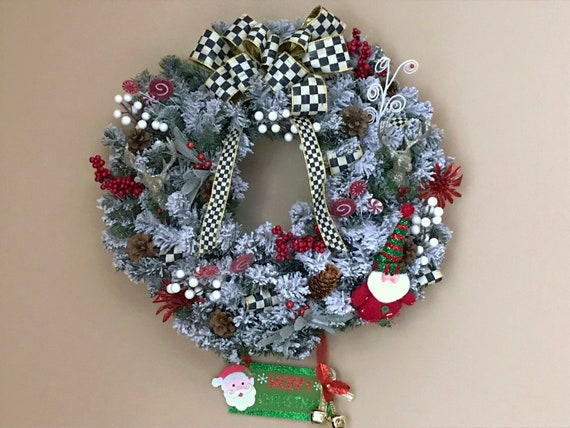 Mackenzie Childs Christmas.Mackenzie Childs Inspired 24 Whimsical Christmas Wreath Courtly Check Ribbons Bow Hanger