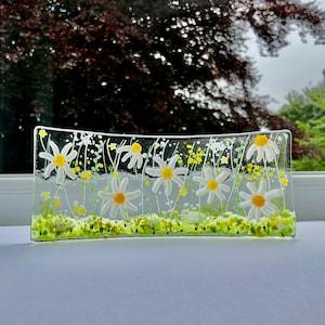 Fused Glass Flowers sun catcher Fused Glass Poppies S Shape Fused Glass Ireland Fused Glass Cornwall Cornish light catcher