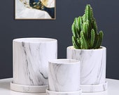 Plant Pots,Marbling Flower Pots,4 5 6In Ceramic Plants Containers Succulent Pots with Drainage Hole and Saucer Gray Garden Pots 3 Pack