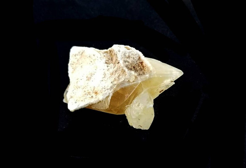 Double Terminated Golden StellarBeam Calcite Crystal With Dogtooth Cluster A Specimen