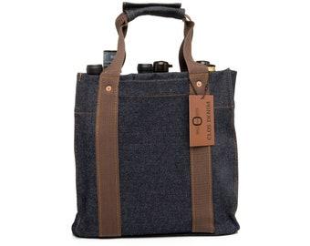 Heavyweight CLOS DENIM 6-bottle Tote Bag, Southern USA Handmade