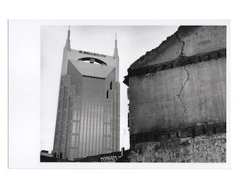Real Photo Postcard, Lower Broadway, Cracked, Nashville, 1998.