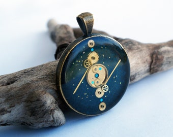 Steampunk necklace, blue, Victorian, gears, Vintage, astronomy, mechanism, gift idea