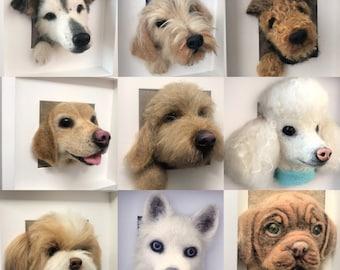 Made to order, Custom order- needle felted 3D Dog portrait, Felt Pet Portrait, Needle felt pet portrait, dog replica Dachshund, Maltese,
