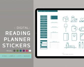 Digital Reading Planner Stickers - Regal - Bookish Stickers - GoodNotes Stickerbook - Digital Planner Stickers - Pre-cropped - EnvizArt