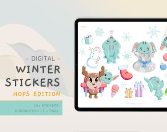 Digital Winter Stickers - Hops - Kawaii Stickers - Cute Stickers - Digital Planner Stickers - Digital Scrabooking - EnvizArt