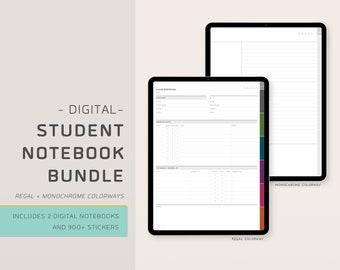Digital Student Notebook Bundle - Includes 2 Digital Notebooks + 975+ Digital Stickers - 6 Subject - Academic Notebook - EnvizArt