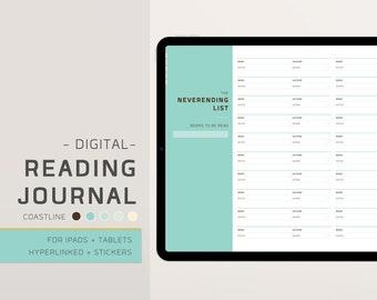 Digital Reading Journal - Book Log - Reading Planner - Hyperlinked - Digital Stickers, Covers - Horizontal - Coastline Edition - EnvizArt