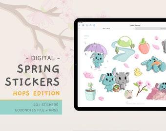 Digital Spring Stickers - Hops - Kawaii - Sakura - Cherry Blossoms - Cute Stickers