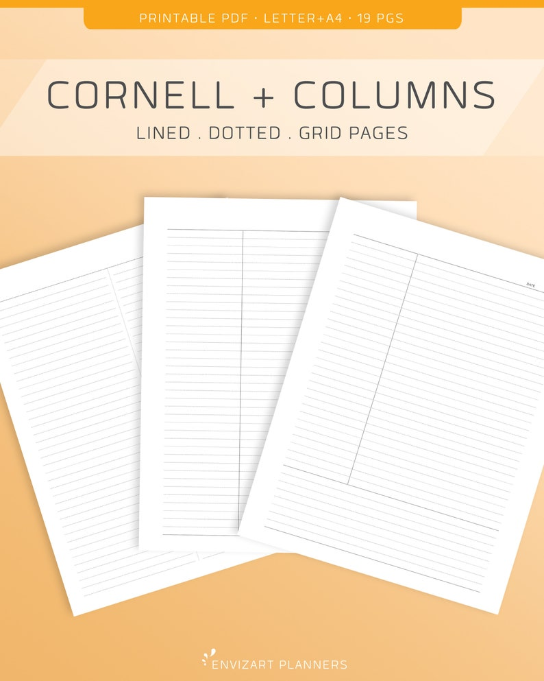 Cornell Method and Study Column Note Taking Printable Set  image 0