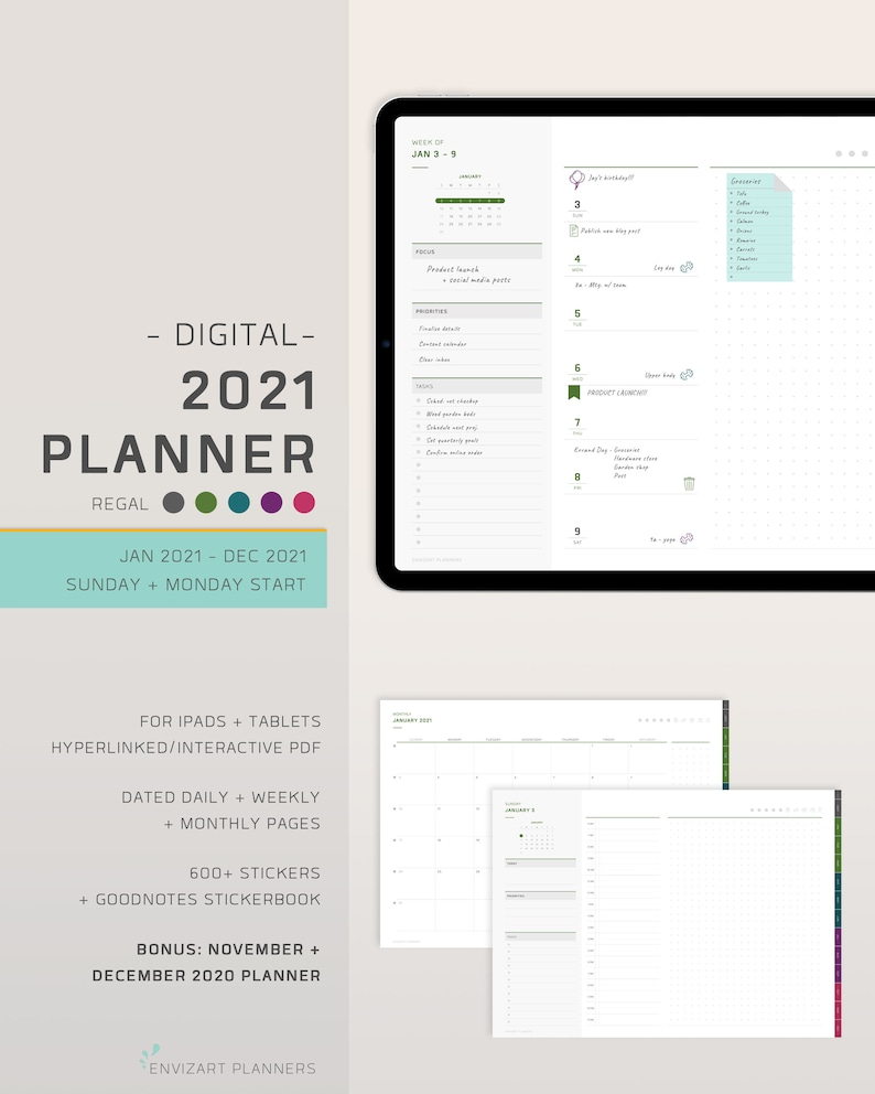 2021 Digital Planner  Classic Weekly  Minimalist  GoodNotes image 0