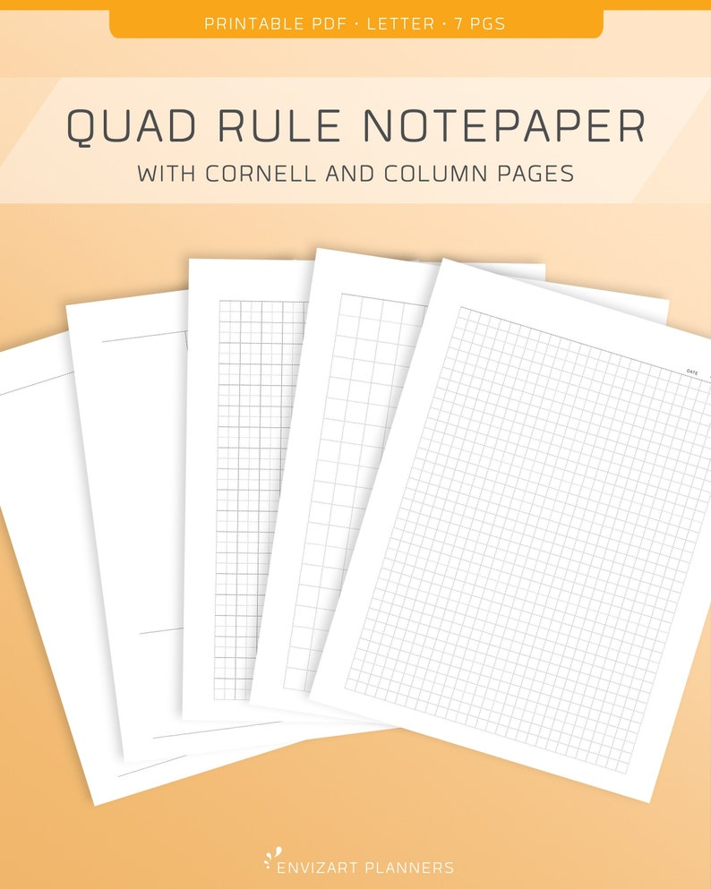 Notepaper Printable  Graph Paper  Quad Rule Grid  Letter image 0