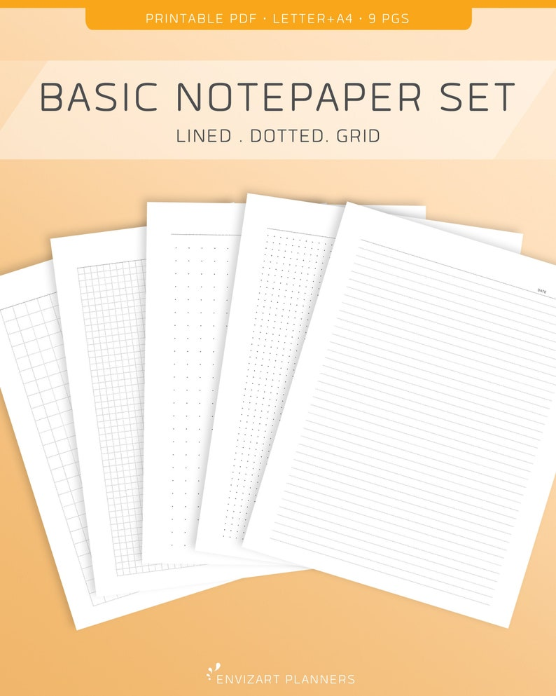 Notepaper Printable Set  Lined Dotted Grid/Graph  Letter & image 0