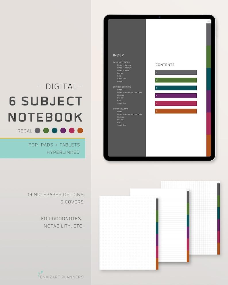 Digital Notebook  6 Tabs  Hyperlinked Organizer  For image 0