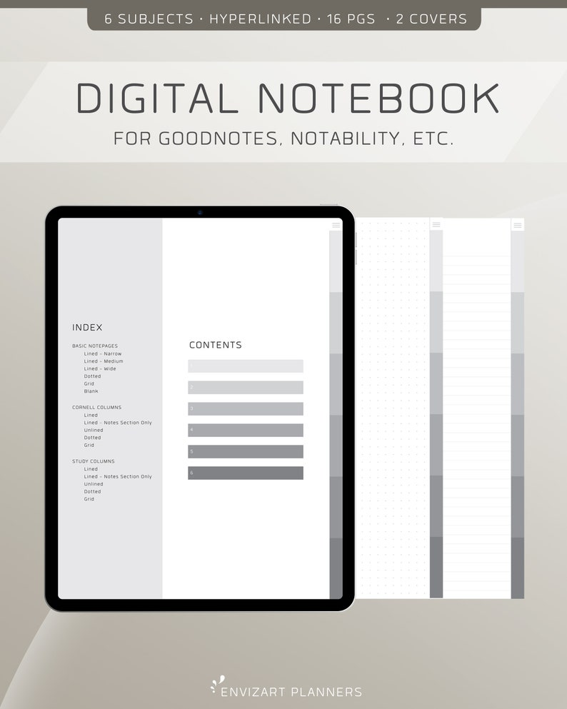 Digital Notebook  6 Tabs  Hyperlinked Organizer  For image 0