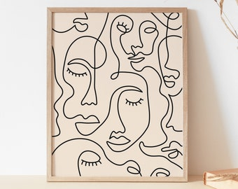Single Line Face Art Print   Minimalist Woman Line Drawing   Simple Line Art Female Face   Woman Face One Line Drawing   Neutral Wall Print