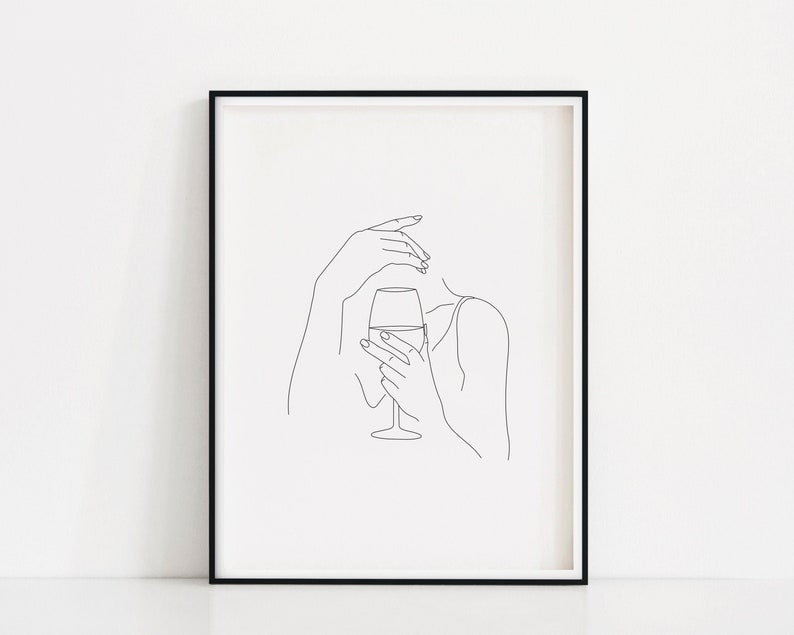 Wine Hands Art Print  Wine Woman Line Art  Wine Drinker image 0
