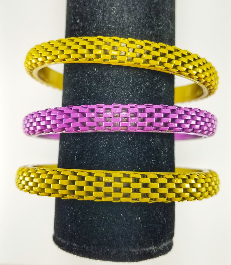 Set of 3 Vintage Purple and Yellow Checker Patterned Metal Bangle Bracelets 1980s Costume Jewelry Retro Checkered