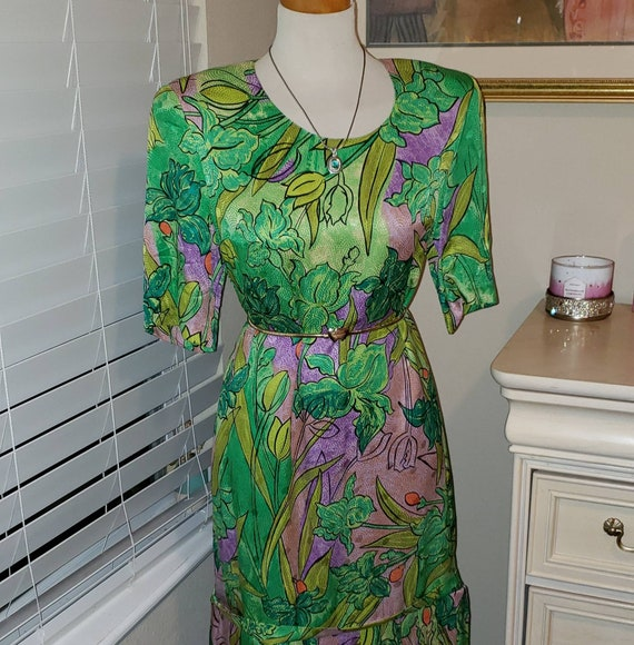 Vintage Louis Feraud Dress | Green Flower Dress |