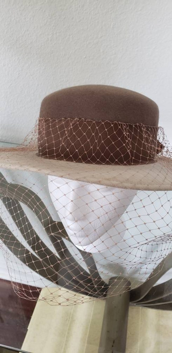 Boater hat with veil