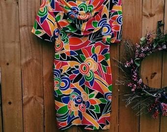 Vintage Abstract Dress | Silk Dress