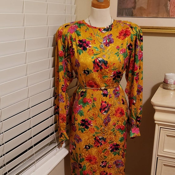 Vintage Ungaro Dress | Golden Flower Dress | Silk