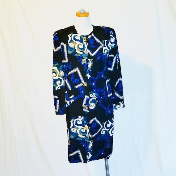 Silk luxury blue patterned dress | Scaasi Vintage