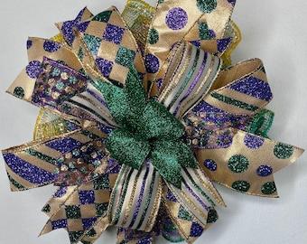 Mardi Gras Bow, Mardi Gras Decorations, Mailbox Bow, Lantern Bow, New Orleans Bow