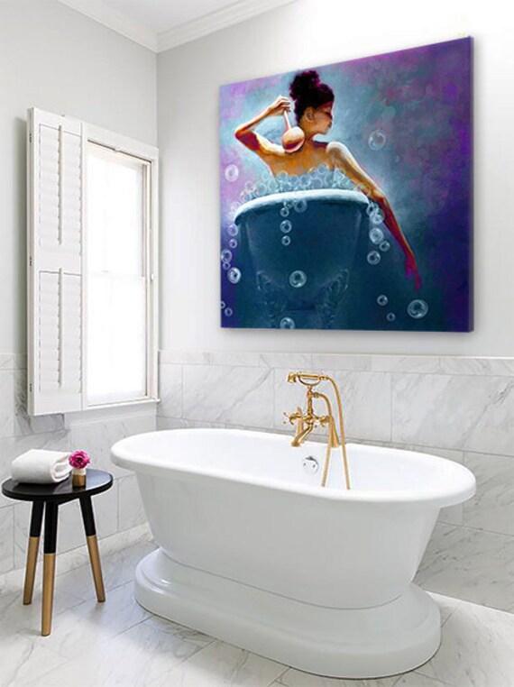 Ebony Bubbles African American Art Bathroom Wall Art Bath Etsy