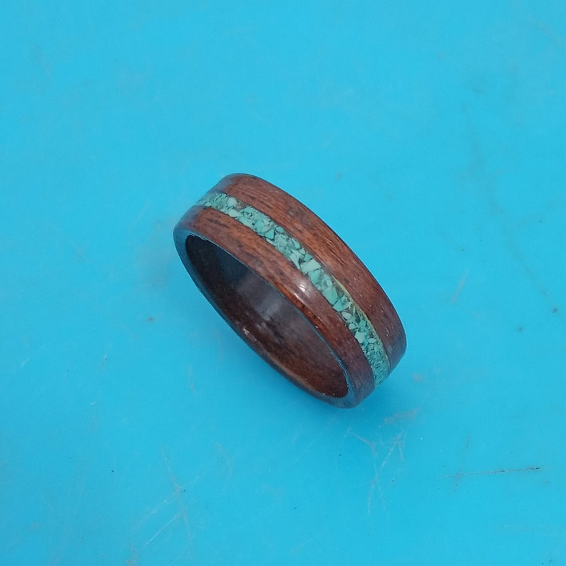 Womens Ring mens wedding band New Raw Stone Wedding Anniversary Band Inlay turquoise Ring Handmade Wooden Ring Free Shipping