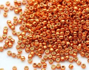 15 g japonais Miyuki Delica 11//0 Perles-Rouge Rubis Argent Doublé-Teint DB00-603