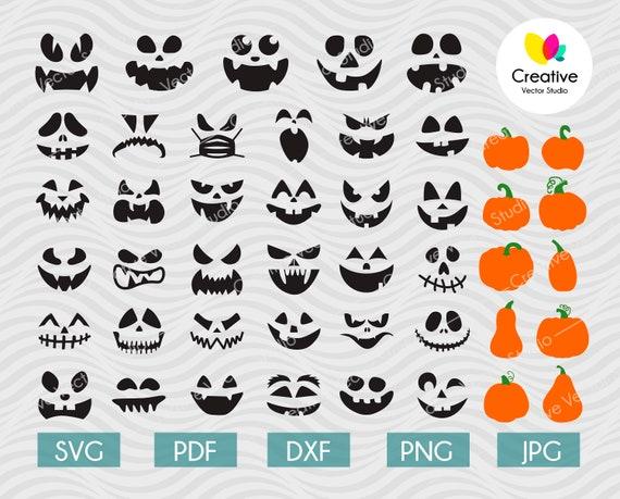 Pumpkin Face SVG Bundle Jack O Lantern Faces svg bundle Cute