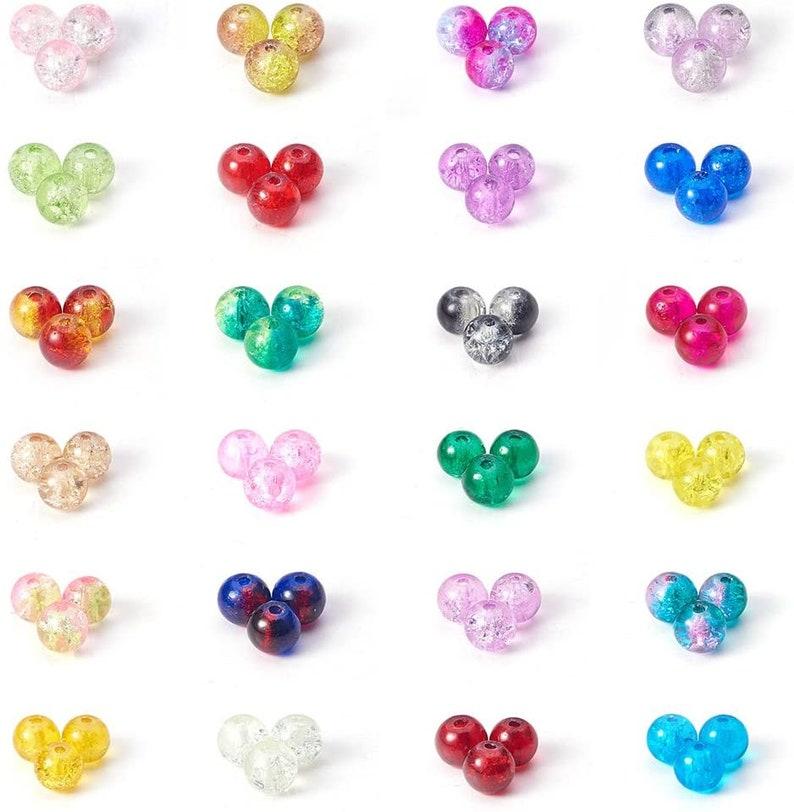 Crackle Lampwork Glass Beads  Round Bracelet Crystal Beads Bulk for Friendship Bracelet Earring Jewelry Making Christmas Tree Ornament