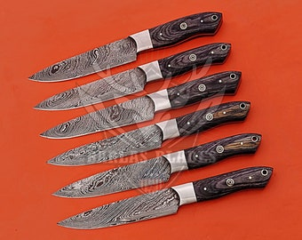 Handmade Damascus Steel 6Pcs Steak Knife Set With Unique Handles / Table Steak Knives / Birthday Gift / Free Leather Roll / Best Gift Ever