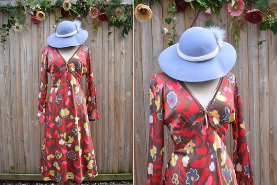 Laura Ashley Red Pink Floral Retro Silk Viscose Dr